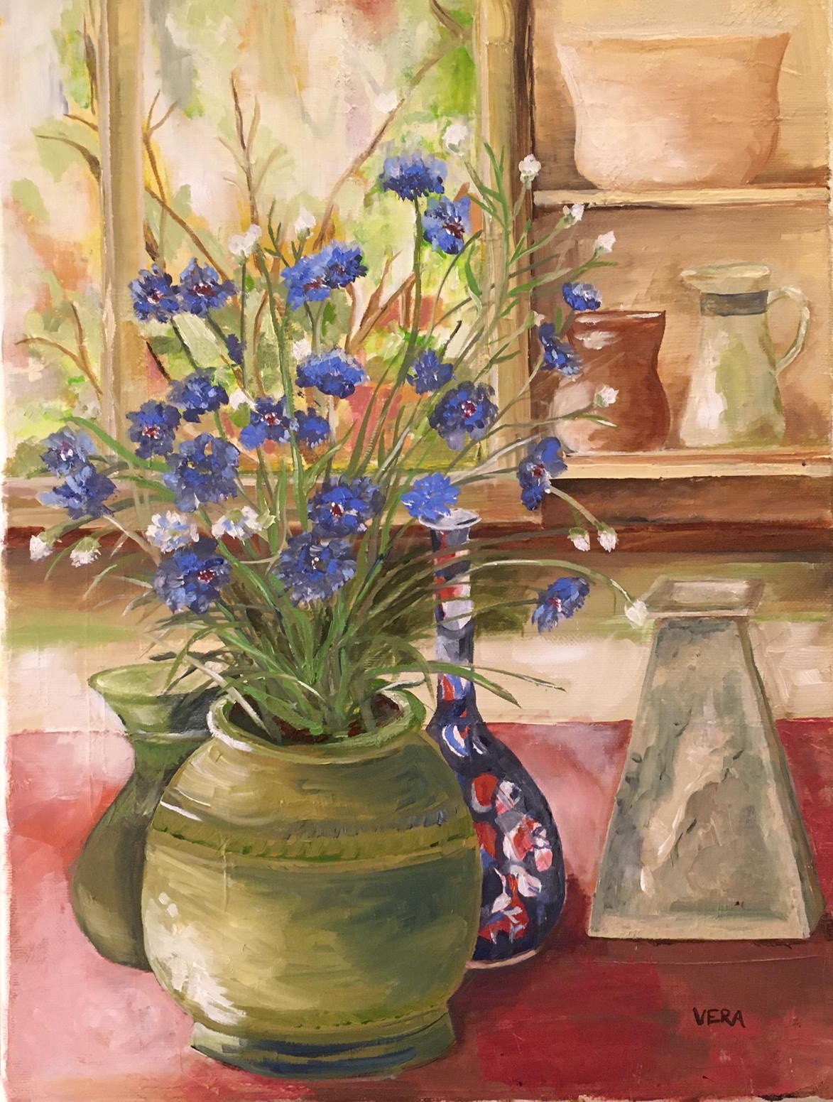 Cornflowers; Homage to Margaret Olley